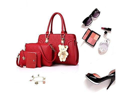 cuir la koobea titulaire Rouge a Sac bandoulière sac à à PU de 4pcs sac main carte Set Main IOrOCqw