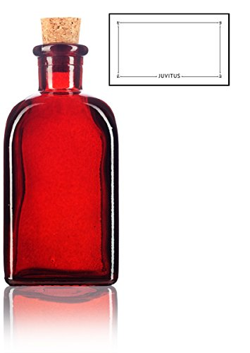 Red Spanish Thick Recycled Glass Bottle with Natural Cork Top - 8 oz / 250 ml by JUVITUS