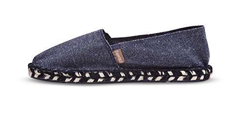 Espadrij Unisex Schuhe Damen und Herren, Zebre, Klassische Espadrilles Aus Canvas-Stoff und Gemütlicher und Wasserabweisender Jutesohle mit Streifenmuster Denim