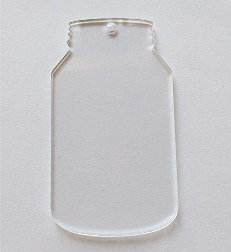 """10pcs/lot Blank Clear Acrylic Laser cut Mason Jar, Plexiglass Blank Keychain Necklace DIY Accessory 1/8"""" Thickness (2.5inch)"""