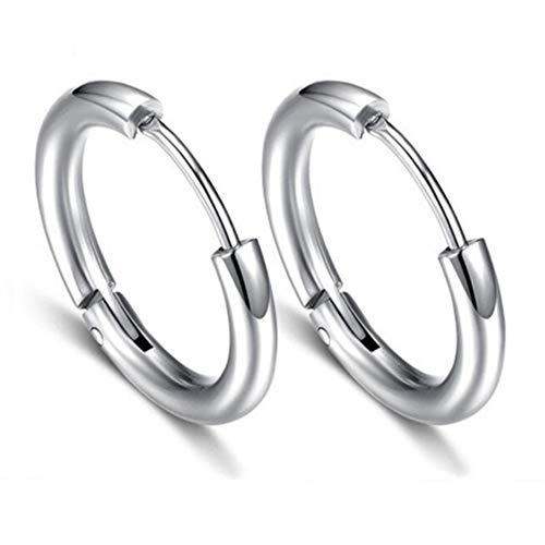 """Men Women Girls Hoop Earrings Classic Titanium Stainless Steel Charms Huggie Huggy 0.63"""" Round Earrings Hoops"""