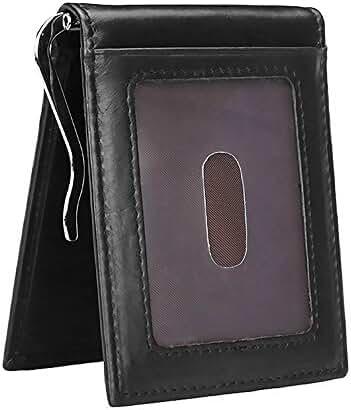 Men Slim Wallet RFID Blocking Genuine Leather Front Pocket Card Holder Money Clip
