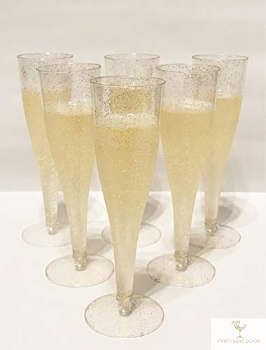 60 Champagne Toasting Glass-like Plastic Flutes, Great for Christmas, Thanksgiving, Wedding, Birthday, Bachelorette Parties ()