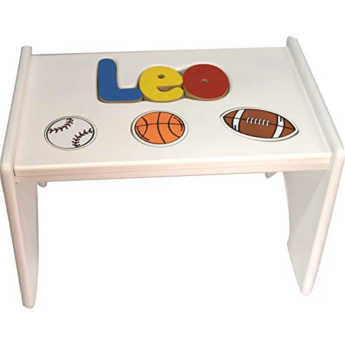 - Personalized Sports Wooden Puzzle Stool- Stool Color: White, Letter Color: Primary, 1-8 Letters