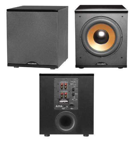 - Acoustech H-100 Cinema Series 500-Watt Front-Firing Subwoofer, High-Gloss Black