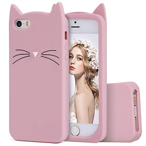 (TopSZ Pink Cat Case for iPod Touch 6th,5th,Silicone 3D Cartoon Animal Cover,Kids Girls Teens Boys Animated Design Cool Cute Kawaii Soft Rubber Funny Unique Character Cases for iPod 5 6 Generation)