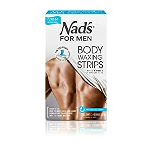 Nad's For Men Body Wax Strips – Wax Hair Removal For Men – At Home Waxing Kit With 20 Waxing Strips + 2 Calming Oil Wipes