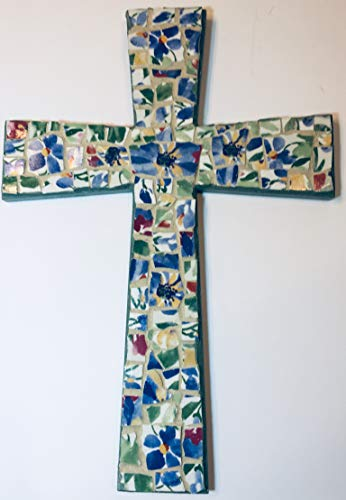 J Pepper's Art By Hand Decorative Wood Cross with Blue Flowers Red and Green Floral Broken China Tiles (Mc009)