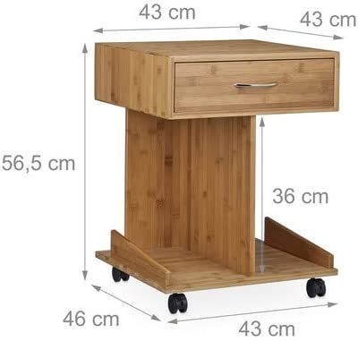 2 Shelves For Books Hxwxd: ca 56.5 x 43 x 46 cm Natural Brown Bamboo Relaxdays Rolli Bamboo Side Table with wheels Drawer