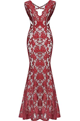 Absolute Rosy Women's Plunge V Neck Lace Maxi Prom Evening Dress Burgundy ()
