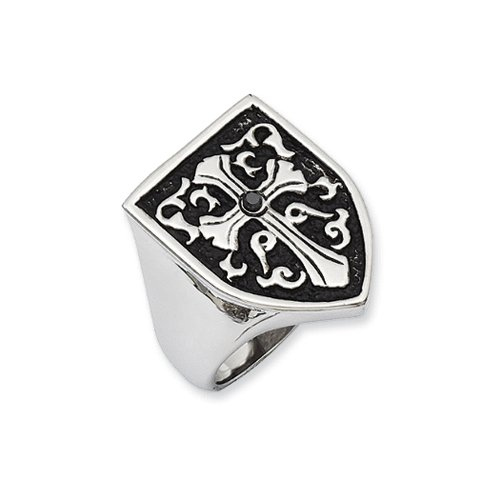 Stainless Steel And Black Diamond Cross Shield Ring Size (Cut Half Shield)