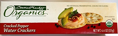 Central Market Organics Cracked Pepper Water Crackers 4.4 Oz (Pack of 4) by Central Market HEB