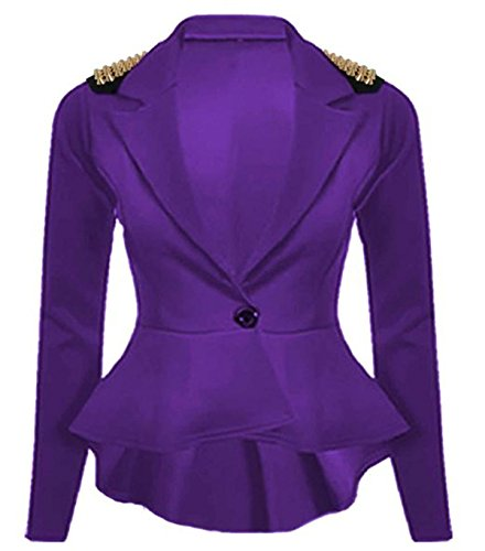 FashionMark Womens Spikes Studded Crop Peplum Frill Button Blazer Jacket -