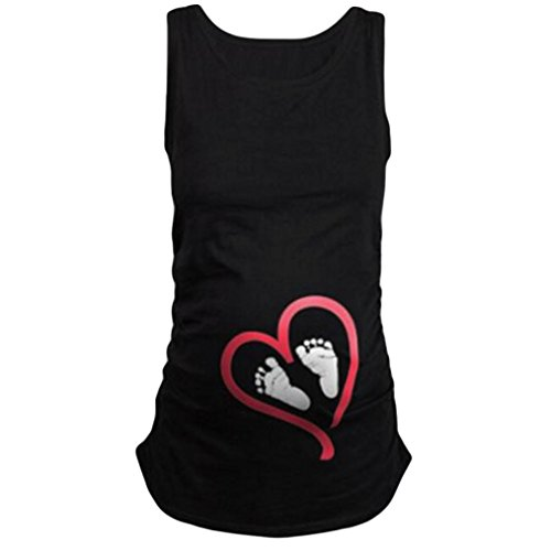 vermers Womens Sleeveless Blouse Footprint Print for Maternity T-Shirt (L, Black)