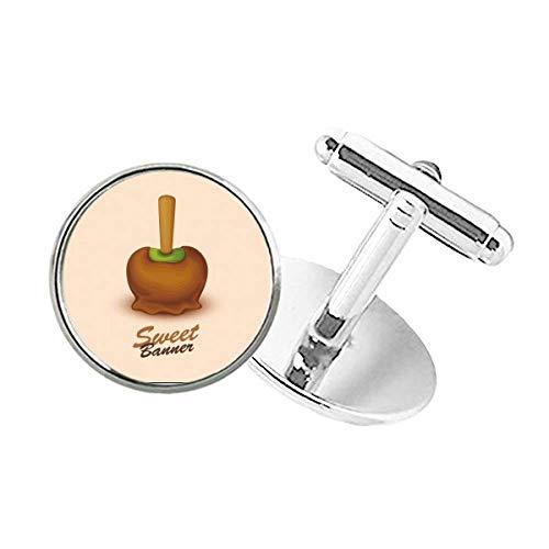 DIYthinker Brown Green Chocolate Ice Cream Round Button Cuff Clip Stud Cufflinks