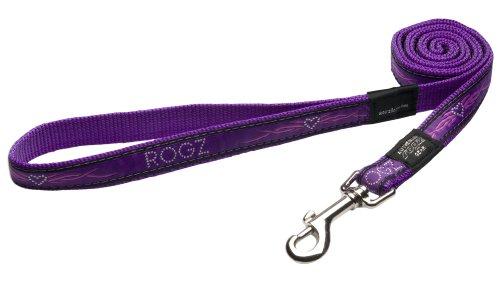 Rogz Fancy Dress Large 3/4-Inch Beachbum 6-ft Long Fixed Dog Lead, Purple Chrome Design, My Pet Supplies
