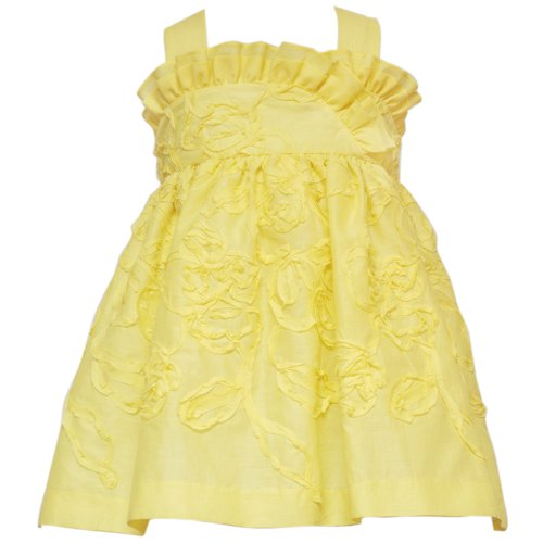 Rare Editions Baby/INFANT 12M-24M 2-Piece YELLOW SOUTACHE RUFFLE CROSSOVER X-BACK Special Occasion Flower Girl Easter Party Dress