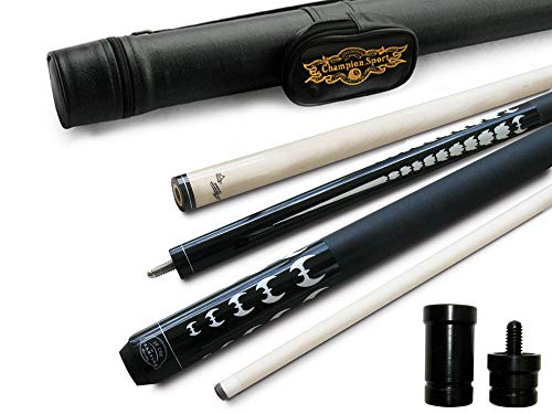 Champion ST-15 Billiards Pool Cue Stick, Black Pool Case, Champion Pool Glove, 3 cue Tips 19 oz