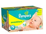 Pampers Swaddlers Newborn Diapers Size N 88.0ea (pack of 2)