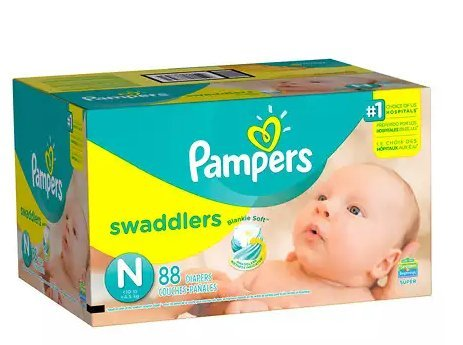 Pampers Swaddlers Newborn Diapers Size N 88.0ea (pack of 2) by Diapers.com