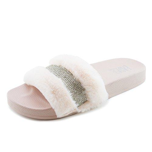 Vrouwen Open Teen Bont Riem Strass Flip Flop Sandalen (volwassenen) Roze