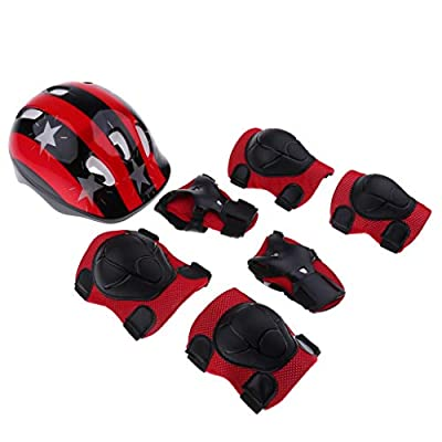 7 Pieces 5 Designs Kids Children Roller Skating Scooter Bicycle Helmet Lot Knee Elbow Wrist Pad Guard Protective Gears Set S M Outdoor Protector (Color : Red Star M): Home & Kitchen