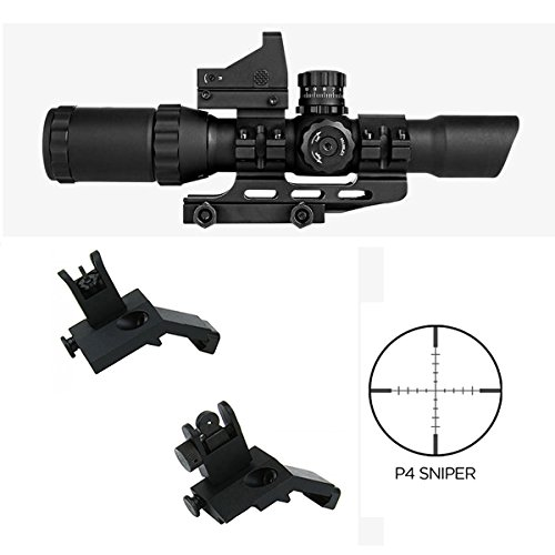 M1SURPLUS Tactical Combo Kit With REDCON 1-4x28 Scope (P4 Reticle) + Micro Dot Backup Sight + Ring Mounts + Flip-Up Backup Sights / Fits Weaver Picatinny Rails on Ruger COLT - Lens O Hk