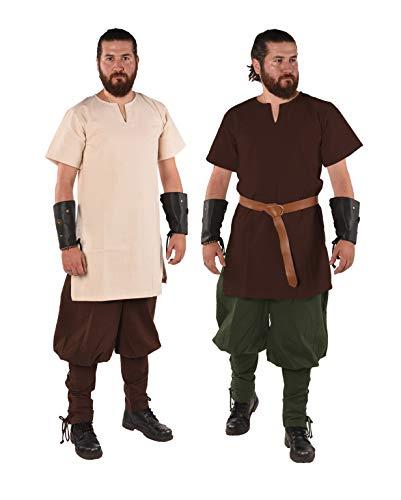(byCalvina - Calvina Costumes Cora Medieval Viking LARP Pirate Renaissance Shirt Tunic - Made in Turkey,NAT-L)