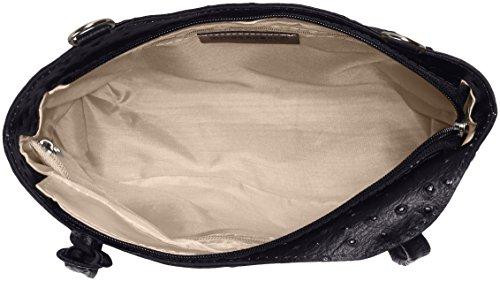 CTM Tasche Damen Leder Schulter Strauß, 28x30x9cm, 100% echtes Leder Made in Italy Schwarz (Nero)
