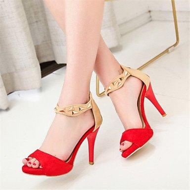 LvYuan Mujer-Tacón Stiletto-Otro Zapatos del club Innovador-Sandalias-Boda Informal Vestido-Vellón Materiales Personalizados-Negro Rojo Beige beige