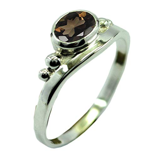 55Carat Choose Your Color Natural Stone Sterling Silver Promise Ring Oval Cut Handamde Jewelry Size 5-13 (Oval Quartz Ring Faceted Smoky)