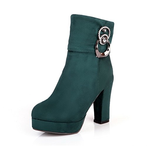 Boots Zipper heels Top AmoonyFashion PU Women's Green toe Round Low High wFfzqI1