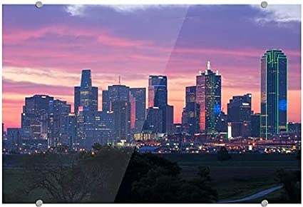 Circle CaptureDallas Texas Sunset Premium Acrylic Sign 36x24 CGSignLab