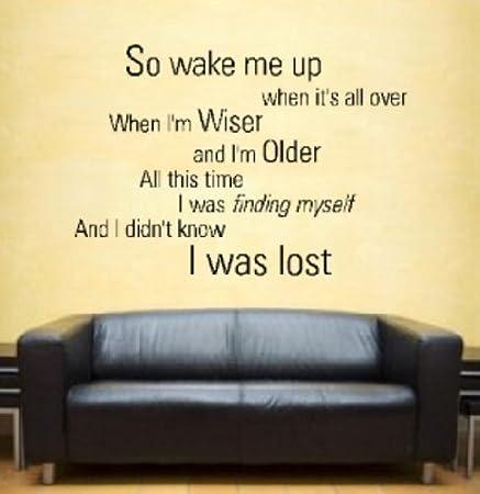 Avicii Wake Me Up Lyrics Wall Art Vinyl Sticker When It\'s All Over ...