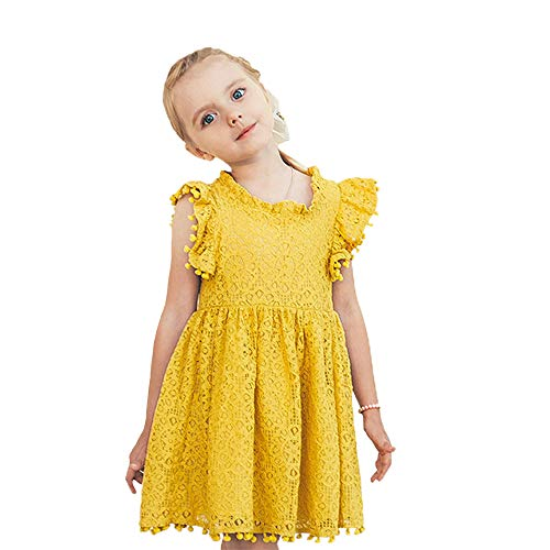 Toddler Kids Girls Hollow Lace Dress Ruffle Sleeves Princess Party Dress Vintage Tassles Birthday Pom Pom SIRT Dress Summer (3-4 Years, Yellow lace Party Dress)