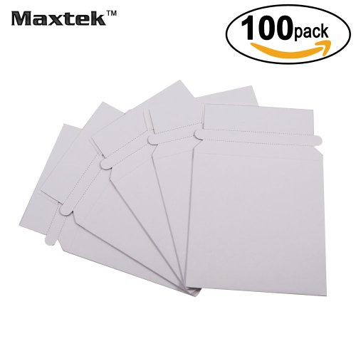 Maxtek 100 Stay Flat CD/DVD White Cardboard Mailers,5 1/4 x 5 1/4 inch, Self Seal Adhesive with Flap