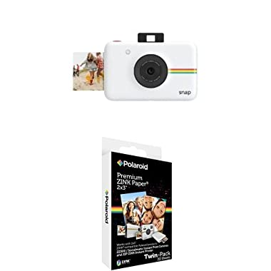 Polaroid Snap Instant Digital Camera (White) with Polaroid 2x3 inch Premium ZINK Photo Paper TWIN PACK (20 Sheets)
