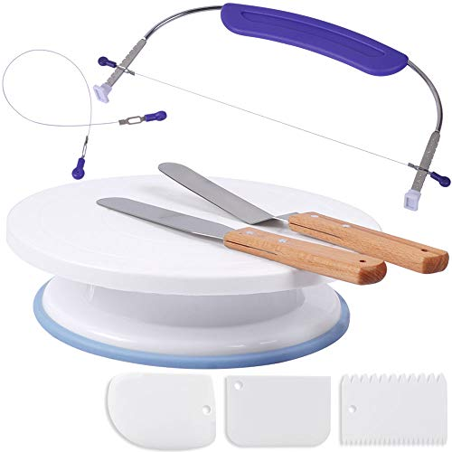 Cake Decorating Supplies Kit Adjustable Cake Leveler Cutter Slicer with Cake Rotating Turntable, Icing spatula and Icing Smoother for Beginners by PROKITCHEN