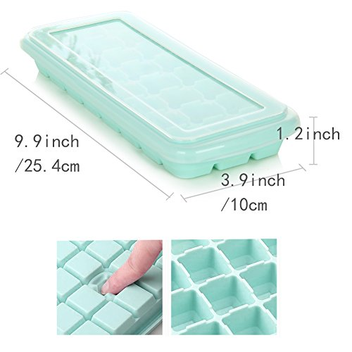 Silicone Ice Trays with Lid,Easy release Ice Maker 2 Pack with Clear Cover,48 Flexible Ice Mold for Whiskey, Wine, Beer by Marbrasse by Marbrasse (Image #1)