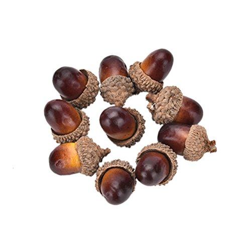 Haodeba 10 Pcs Christmas Decorative Fake Mini Acorn Oak Nut Artificial Fruits Ornaments Decor (Tree Acorn Christmas)
