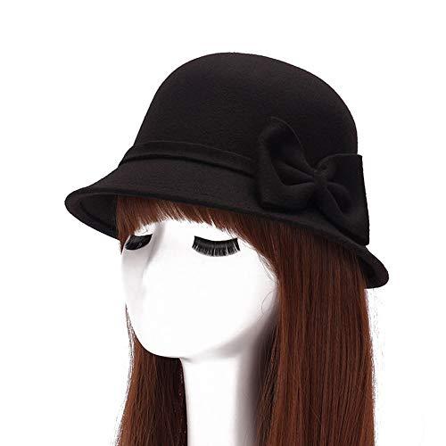 ChenXi Store Women Faux Wool Church Cloche Flapper Hat Lady Bucket Winter Flower Cap -