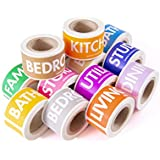 "Moving Labels Color Coding Packing & Storage Tape Rolls Set by TOTALPACK - Heavy Duty Firmly Sticking Coded Box Stickers for Any Surface - 14 Rolls with 50 Labels Each - 1"" x 4.5"" - Easily Readable"