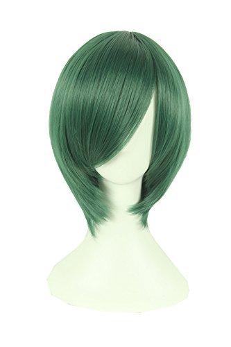 [Playcosland Ladies and Women Fancy Anime Cosplay Short Hair Dark Green] (Short Green Wig)