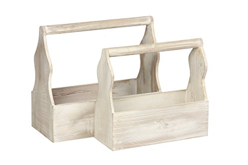 Wooden Crate Set for Carrying Small Milk bottles, Condiments, Tools by Modern Day Living | Rustic White Wood (set of 2)