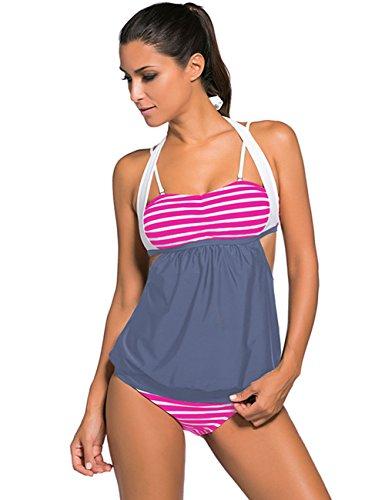 Boutiquefeel Traje de Baño con Raya Patchwork Tankini Swimsuit para Mujer Gris