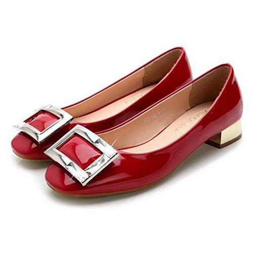 Mini Salón Tacón Puntera Aalardom Sólido Imitación Mujer Rojo Suave diamante Material Cuadrada De gqBUtzwA
