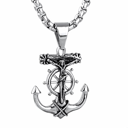 Jesus Cross Anchor (JAJAFOOK Men's Stainless Steel Silver Nautical Anchor Jesus Cross Necklace Chain Link)