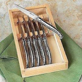 Laguiole Stainless Steel Steak Knife - 6 Pieces Gift Set by Kitchen Expert