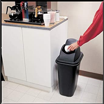 Rubbermaid Commercial Untouchable Polypropylene Top for Medium Trash Can Black