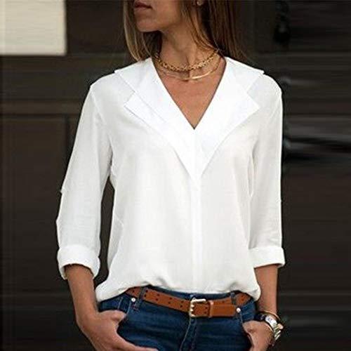 Mode Dames Manches Shirt de Mousseline Bureau en Tops Solide Femme Xinantime Blouse Soie Rouleau Femmes Blanc Plaine T Chemise px7gfAE
